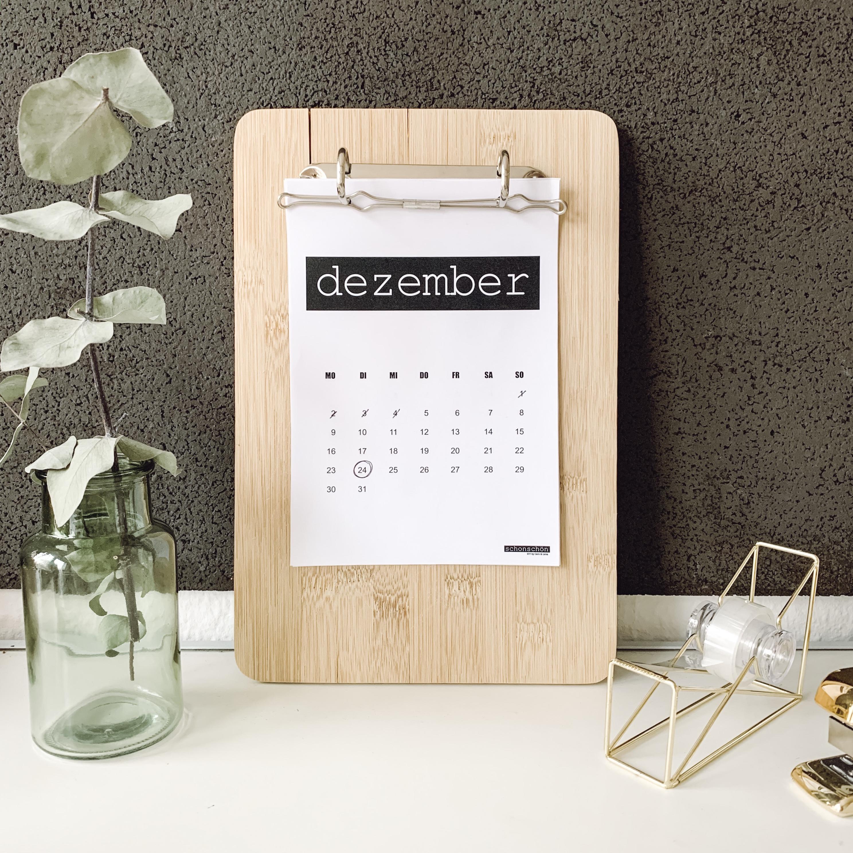 Upcycling Kalender mit kostenloser Vorlage