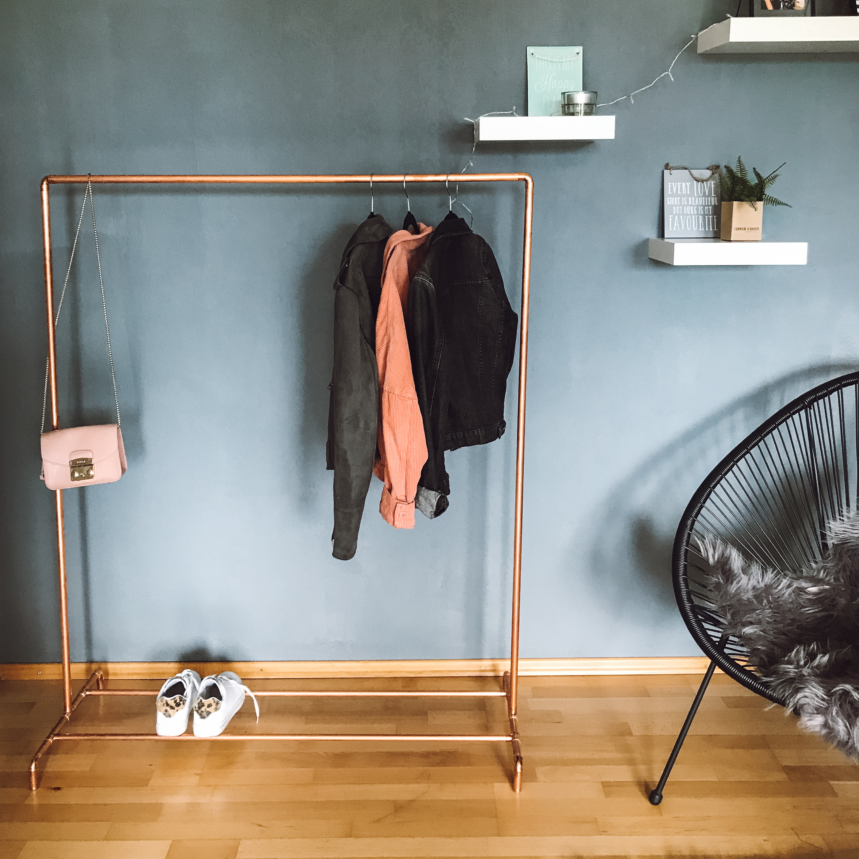 DIY Kleiderstange Kupferrohr
