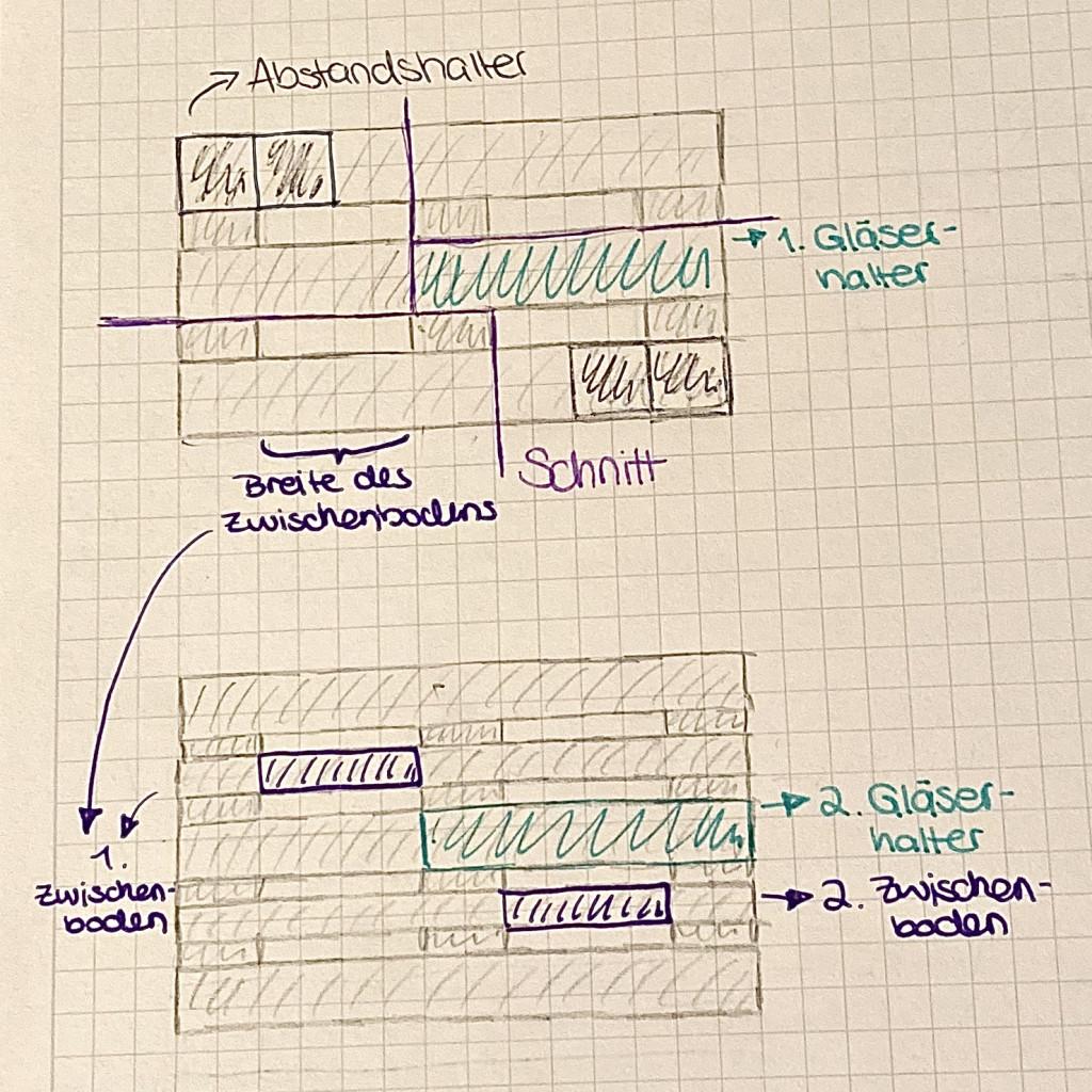 Skizze Anleitung DIY Weinregal aus Paletten