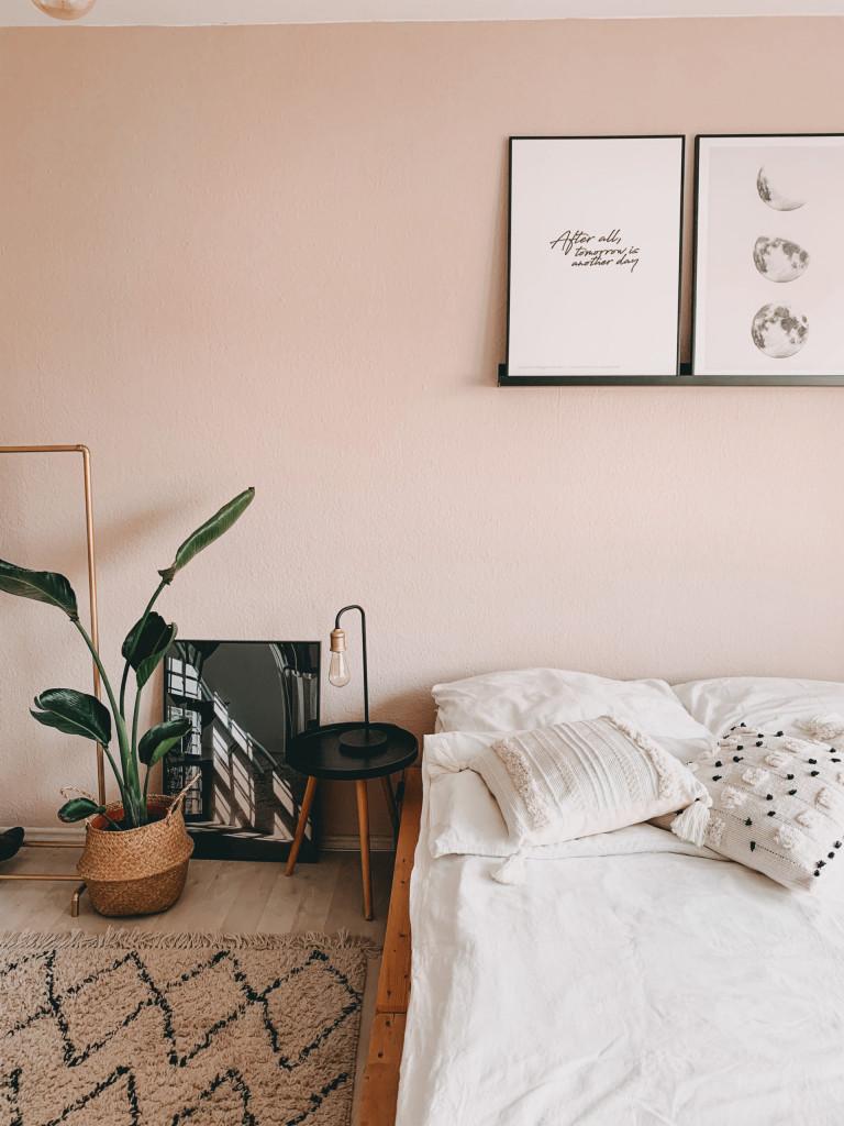 Schlafzimmer dekorieren - Boho Gold rosa schwarz Poster
