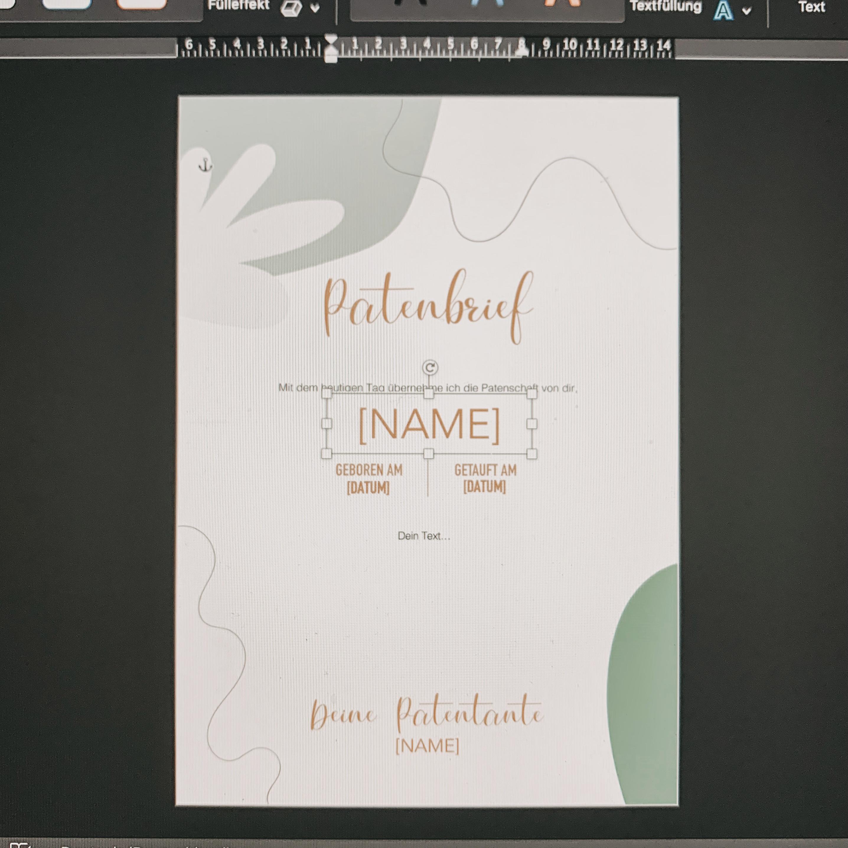 Patenbrief_Free Printable: Geschenk zur. Taufe Patentante