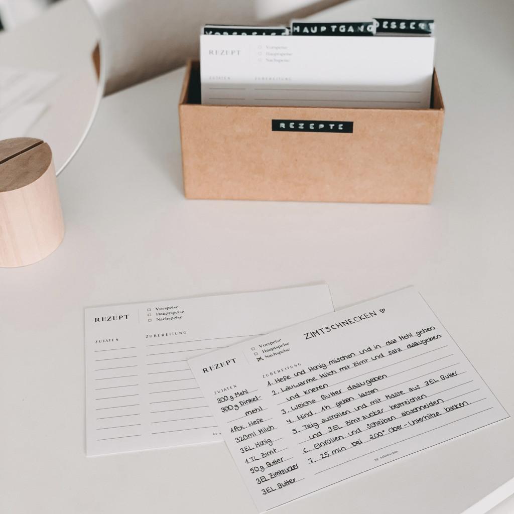 Printable: Rezeptkarten Download zum Ausdrucken in minimaoistischem Design