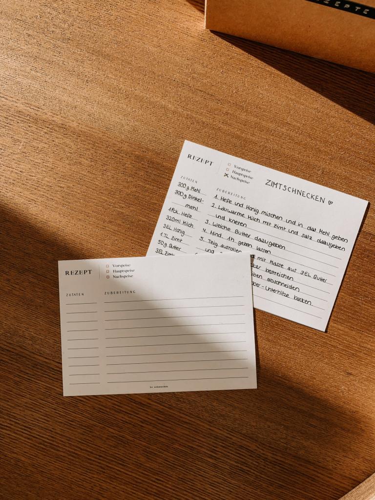 Printable: Rezeptkarten Download zum Ausdrucken in minimalistischem Design